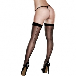 Sheer Thigh Highs Avec Backseam Avec Bandes Silicone Stay-Up Taille Unique - Baci