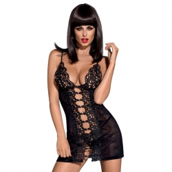 Bride Chemise & Thong Black L/XL - Obsessive